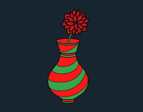 Coloring page Chrysanthemum in a vase painted byCharlotte