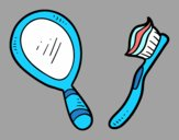 Coloring page  Mirror and toothbrush painted byAnia