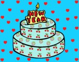 Coloring page New year cake painted byAnia