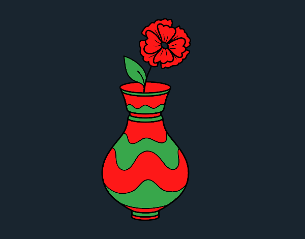 Coloring page Poppy with vase painted byCharlotte