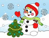 Coloring page Christmas card snowman painted byeaster