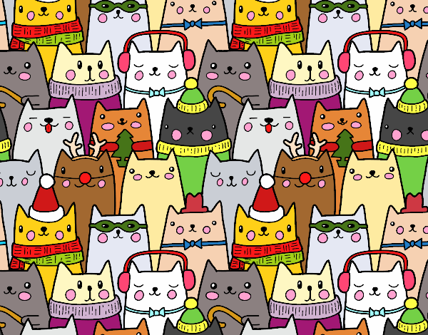 Coloring page Christmas cats painted bybarbie_kil