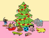 Coloring page Christmas tree with some toys painted byAnia