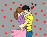 Coloring page Man and woman in love painted byAnia