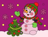 Coloring page Christmas card snowman painted byKathy