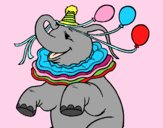 Coloring page Elephant with 3 balloons painted byAnia