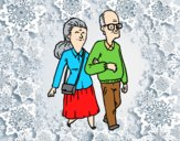 Coloring page Grandparents couple painted byAnia