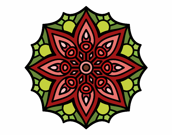Coloring page Mandala simple symmetry  painted byfawnamama