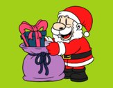 Coloring page Santa Claus giving presents painted byKathy