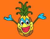 Coloring page Cheerful pineapple painted bymindella