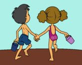 Coloring page Girl and boy on the beach painted bylilnae33