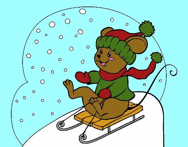Little rat in bobsleigh