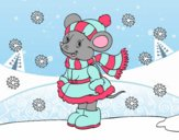 Coloring page Little rat Sheltered at Christmas painted bylilnae33