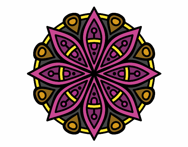 Coloring page Mandala for the concentration painted byfawnamama