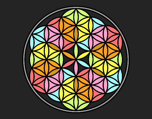 Coloring page Mandala lifebloom painted byfawnamama