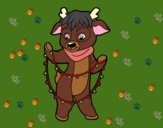 Coloring page Reindeer with Christmas lights painted bylilnae33