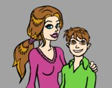 Coloring page Mother and son  painted byAnia