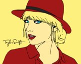 Coloring page Taylor Swift with hat painted byCherokeeGl