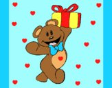 Coloring page Teddy bear with present painted byAnia