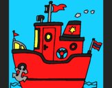 Coloring page Boat with anchor painted byCherokeeGl