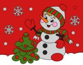 Coloring page Christmas card snowman painted byCherokeeGl