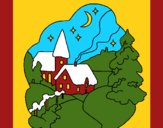 Coloring page Christmas town painted byCherokeeGl