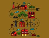Coloring page Eco City painted byCherokeeGl