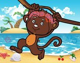 Coloring page Monkey hanging from a branch painted byDuhitztasi