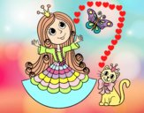 Princess with cat and butterfly