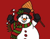 Coloring page Snowman with scarf painted byCherokeeGl