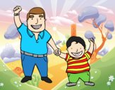 Coloring page Dad and son painted byAnia
