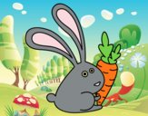 Coloring page Rabbit with carrot painted byAnia