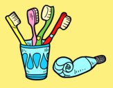 Coloring page Toothbrushes and toothpaste painted byAnia