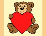 Coloring page Bear in love painted byAnia