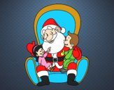 Coloring page Santa with kids painted byAnia