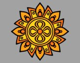 Coloring page Mandala simple flower painted byAnia