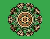 Coloring page Mandala vegetal growth painted byAnia