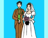 Coloring page The bride and groom III painted byAnia