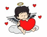 Coloring page Cupid with with heart painted byKhaos