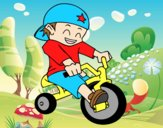 Coloring page Boy on tricycle painted byAnia