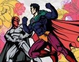 Hero and villain fighting