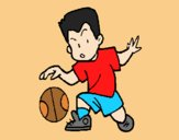 Coloring page Little boy dribbling ball painted byAnia