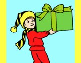 Coloring page Little boy with a huge present painted byAnia