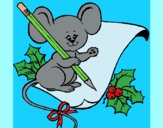 Coloring page Mouse with pencil and paper painted byAnia