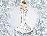 Coloring page Wedding dress with tail painted byKVilla