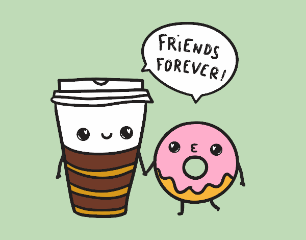Coloring page Coffee and donut painted bybarbie_kil