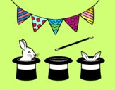 Coloring page Rabbit and top hat painted byryals4paws