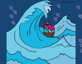 Coloring page Great wave painted byHanna