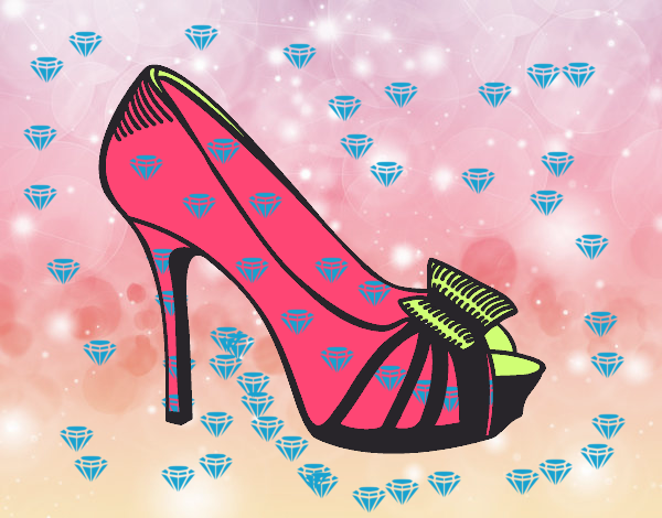Coloring page Platform shoe with bow painted bySant