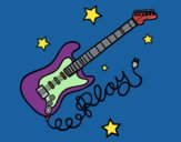 Coloring page Guitar and stars painted byBoylover2